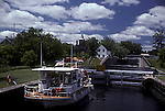 Pleasure craft using locks of Rideau Waterway, Ontario, Canada