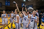 GRAND RAPIDS, MI - MARCH 18: Amherst College holds their hats high with the conclusion the Division III Women's Basketball Championship held at Van Noord Arena on March 18, 2017 in Grand Rapids, Michigan. Amherst College defeated Tufts University 52-29 for the national title. (Photo by Brady Kenniston/NCAA Photos via Getty Images)
