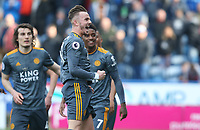 Leicester City's James Maddison celebrates scoring his side's third goal <br /> <br /> Photographer Stephen White/CameraSport<br /> <br /> The Premier League - Huddersfield Town v Leicester City - Saturday 6th April 2019 - John Smith's Stadium - Huddersfield<br /> <br /> World Copyright © 2019 CameraSport. All rights reserved. 43 Linden Ave. Countesthorpe. Leicester. England. LE8 5PG - Tel: +44 (0) 116 277 4147 - admin@camerasport.com - www.camerasport.com