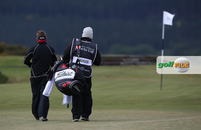 Rear of Jbe Kruger (RSA) and caddie heading to the 8th during Round Three of the 2015 Dubai Duty Free Irish Open Hosted by The Rory Foundation at Royal County Down Golf Club, Newcastle County Down, Northern Ireland. 30/05/2015. Picture David Lloyd | www.golffile.ie