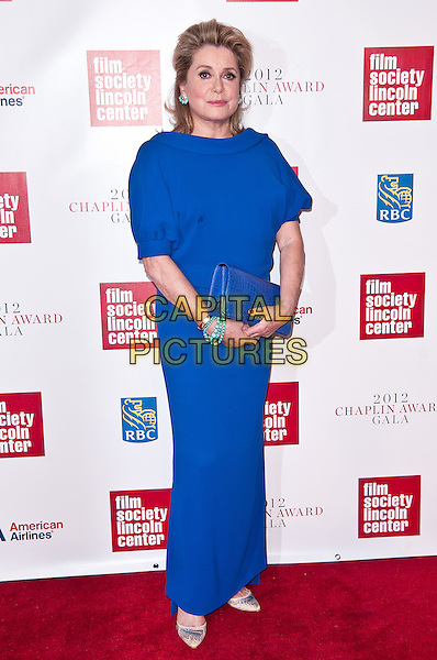 Catherine Deneuve.The 39th Annual Chaplin Award Gala Honouring Catherine Deneuve, New York City, NY, USA..April 2nd, 2012.full length dress blue turquoise bracelet clutch bag.CAP/ADM/MSA.©Mario Santoro /AdMedia/Capital Pictures.