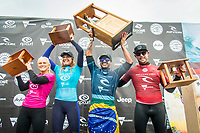 BELLS BEACH, Torquay, Victoria, Australia    (Thursday, April 5, 2018) Tatiana Weston-Webb (HAW), Stephanie Gilmore (AUS), Italo Ferreira (BRA) and Mick Fanning (AUS) - The Rip Curl Pro Bells Beach, Stop No. 2 on the World Surf League (WSL) Championship Tour (CT), wrapped up today with some solid clean 2m waves coming through Bells on the incoming tide.<br /> Italo Ferreira (BRA) could not have chosen a more dramatic context in which to earn his first-ever Championship Tour event win. Thursday afternoon at the Rip Curl Pro Bells Beach, the electric Brazilian defeated the man of the hour, three-time World Champion Mick Fanning (AUS), whose impending retirement after Bells added a bittersweet weight to the proceedings. <br /> <br /> <br /> But when the two paddled out for what would be a first for one of them, and a last for the other, none of that mattered to Ferreira. Instead, he showcased what he is capable of, and made his first serious step toward joining a World Title conversation.<br /> <br /> Plus, if you're going to win your first CT event, taking home the most coveted trophy in surfing isn't a bad way to go about it. Add Mick Fanning to the mix and it's even sweeter.<br /> <br /> &quot;I can't believe it,&quot; said Ferreira. &quot;It's just amazing. Mick Fanning is a hero to me. He's inspired me every single day, at every single competition. Remember his movie 3 Degrees? I've seen that 2000 times.&quot; <br /> <br /> Six-time World Champion Stephanie Gilmore (AUS)  took a step toward winning a seventh Title Thursday when she won the Rip Curl Women's Pro Bells Beach. She also became one of just a few surfers -- Mark Richards, Kelly Slater and Mick Fanning among them -- to ring the winner's bell an incredible fourth time. Photo: joliphotos.com