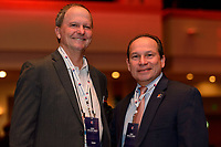Philadelphia, PA - Thursday January 18, 2018: Anson Dorrance, Tony Novo during the 2018 NWSL College Draft at the Pennsylvania Convention Center.