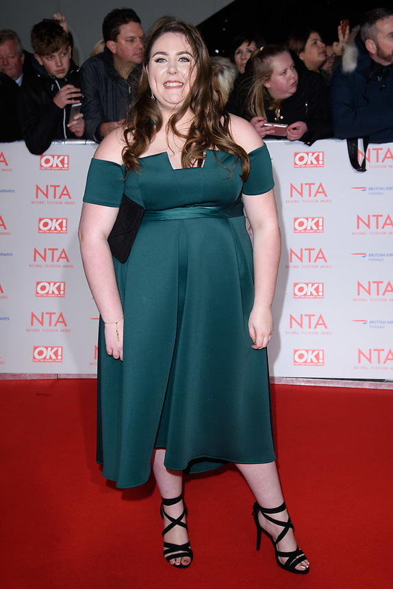 Clair Norris<br /> arriving for the National Television Awards 2018 at the O2 Arena, Greenwich, London<br /> <br /> <br /> ©Ash Knotek  D3371  23/01/2018