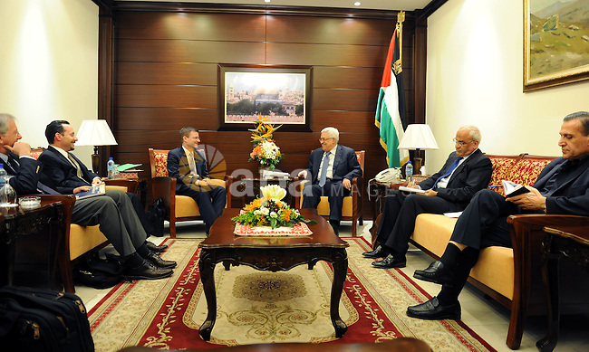 Palestinian President Mahmoud Abbas (C-R) meets with American envoys David Hale (C-L) and Dennis Ross (far L) on September 15, 2011 night in the president's Ramallah, West Bank offices. At right is Seab Erekat, the Palestinian's chief negotiator. The Palestinian Authority intends to go to the United Nations late next week, and the US has said it intends to use it's veto power in a vote should a bid for statehood be made in the General Assembly. Photo by Thaer Ganaim
