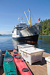 Vancouver Island, MV Francis Barkley, Lady Rose Marine Services, unloading kayaks for Barkley Sound, Deer Group, British Columbia, Canada, Haggard Cove, Alberni Inlet,