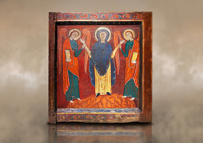 Romanesque thirteenth century painted altar front of Saint Roma de Vila, Encamp, Andorra, showing The Virgin Mary flanked by two angels.  National Art Museum of Catalonia, Barcelona 1922. Ref: MNAC 1587.