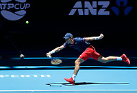 3rd January 2020; RAC Arena, Perth, Western Australia; ATP Cup Australia, Perth, Day 1,; USA v Norway Casper Ruud of Norway plays a forehand shot from the baseline against John Isner of the USA - Editorial Use