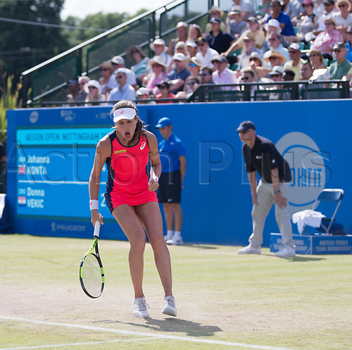 June 18th 2017, Nottingham, England; WTA Aegon Nottingham Open Tennis Tournament day 7 finals day;  Fist pump from Johanna Konta of Great Britain in the ladies final against Donna Vekic of Croatia