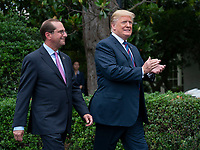 United States president Donald J. Trump and Health and Human Service Secretary Alex Azar attend the White House Sports and Fitness Day at the White House in Washington, DC, May 30, 2018. <br /> CAP/MPI/RS<br /> &copy;RS/MPI/Capital Pictures