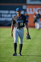 Jhonny Valdez (28) of the Missoula Osprey before the game against the Ogden Raptors at Lindquist Field on August 12, 2019 in Ogden, Utah. The Raptors defeated the Osprey 4-3. (Stephen Smith/Four Seam Images)