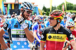 Polka Dot Jersey Brice Feillu (FRA) Fortuneo-Samsic and Belgian National Champion Oliver Naesen (BEL) AG2R La Mondiale lined up for the start of Stage 4 of the 2018 Criterium du Dauphine 2018 running 181km from Chazey sur Ain to Lans en Vercors, France. 7th June 2018.<br /> Picture: ASO/Alex Broadway | Cyclefile<br /> <br /> <br /> All photos usage must carry mandatory copyright credit (&copy; Cyclefile | ASO/Alex Broadway)
