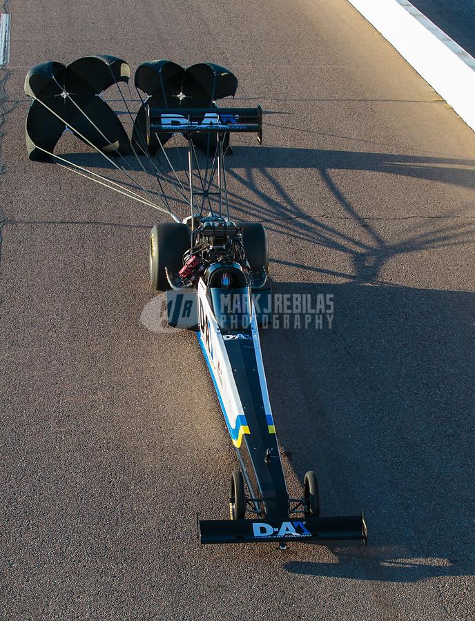 Feb 23, 2019; Chandler, AZ, USA; NHRA top fuel driver Jordan Vandergriff during qualifying for the Arizona Nationals at Wild Horse Pass Motorsports Park. Mandatory Credit: Mark J. Rebilas-USA TODAY Sports