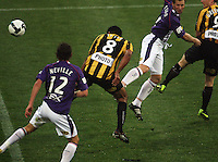 Paul Ifill heads in the first goal for Phoenix during the A-League football match between Wellington Phoenix and Perth Glory at Westpac Stadium, Wellington, New Zealand on Sunday, 16 August 2009. Photo: Dave Lintott / lintottphoto.co.nz