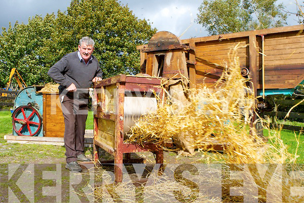 Brendan Ferris who spinning grain on a early 1800's Hand Thresher getting practce for the Threshing for Cancer which will be held on his farm at Gortnascarry, Killorglin on Sunday 29th September