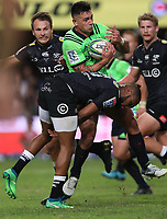 DURBAN, SOUTH AFRICA - MAY 05: Lukhanyo Am of the Cell C Sharks tackling Rob Thompson of the Pulse Energy Highlanders during the Super Rugby match between Cell C Sharks and Highlanders at Jonsson Kings Park Stadium in Durban, South Africa on Saturday, 5 May 2018. Photo: Steve Haag / stevehaagsports.com
