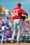 9 March 2012: Philadelphia Phillies pitcher Roy Halladay stands on the mound after serving up a home run to Eric Patterson during a Spring Training game against the Detroit Tigers at Joker Marchant Stadium in Lakeland, Florida. The Phillies defeated the Tigers 7-5 in Grapefruit League action. Mandatory Credit: Ed Wolfstein Photo
