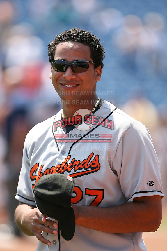 Pedro Beato of the Delmarva Shorebirds vs. the Lake County Captains: June 19th, 2007 at Classic Park in Eastlake, OH.  Photo by Mike Janes/Four Seam Images