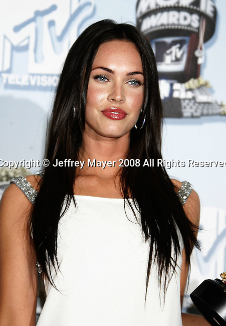 Actress Megan Fox in the press room at the 2008 MTV Movie Awards on June 1, 2008 at the Gibson Amphitheatre in Universal City, California.