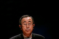 UN Secretary General Ban Ki-moon looks during press conference  after the  Meeting of the Quartet of Middie East Peace Mediators at Centro Cultural Belém in Lisbon 20 July 2007.