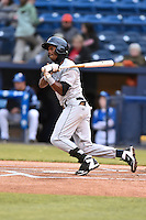 Asheville Tourists shortstop Jorge Mateo (2) swings at a pitch during a game against the Charleston RiverDogs on April 30, 2015 in Asheville, North Carolina. The RiverDogs defeated the Tourists 5-4. (Tony Farlow/Four Seam Images)