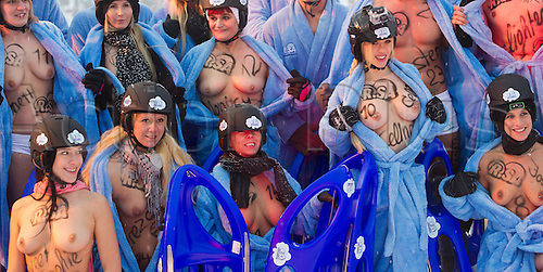 23.02.2013. Altenberg, Germany.  The participants of the first naked sledding event pose prior to the start in the Erz mountains in Altenberg, Germany, 23 February 2013.