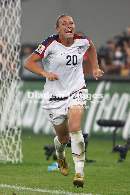 TIANJIN, CHINA - SEPTEMBER 22:  Abby Wambach of the United States celebrates after scoring a goal against England in a Women's World Cup quarterfinal soccer match September 22, 2007 in Tianjin, China.  (Photograph by Jonathan P. Larsen)