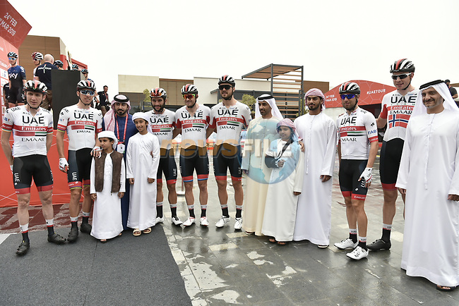 UAE Team Emirtaes riders before the start of Stage 6 of the 2019 UAE Tour, running 175km form Ajman to Jebel Jais, Dubai, United Arab Emirates. 1st March 2019.<br /> Picture: LaPresse/Fabio Ferrari | Cyclefile<br /> <br /> <br /> All photos usage must carry mandatory copyright credit (© Cyclefile | LaPresse/Fabio Ferrari)