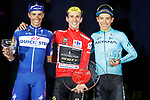 The top three on the podium Simon Yates (GBR) Mitchelton-Scott 1st place overall his first ever Grand Tour victory, with Enric Mas Nicolau (ESP) Quick-Step Floors in 2nd place and Miguel Angel Lopez Moreno (COL) Astana Pro Team in 3rd place at the end of the final Stage 21 of the La Vuelta 2018, running 100.9km for Alcorcon to Madrid, Spain. 16th September 2018.                   <br /> Picture: Unipublic/Photogomezsport | Cyclefile<br /> <br /> <br /> All photos usage must carry mandatory copyright credit (© Cyclefile | Unipublic/Photogomezsport)