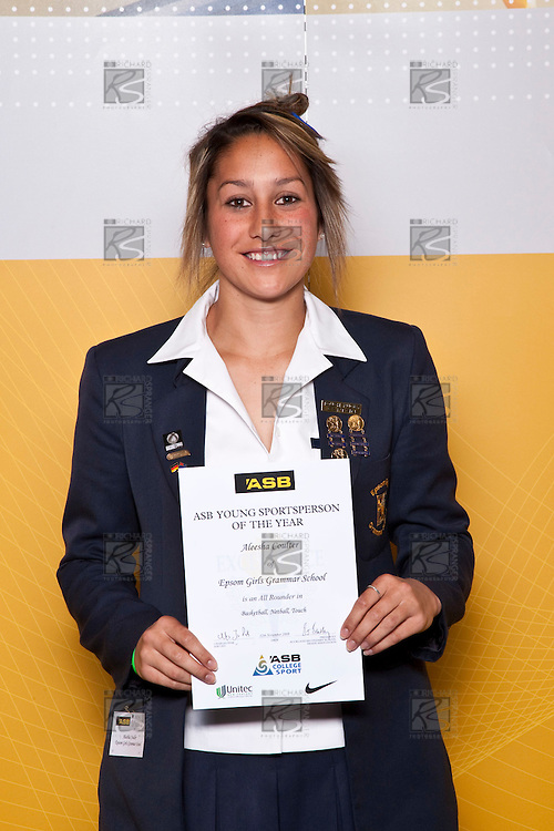 All Rounder Aleesha Coulter from Epsom Girls Grammar School. ASB College Sport Auckland Secondary School Young Sports Person of the Year Awards held at Eden Park on Thursday 12th of September 2009.