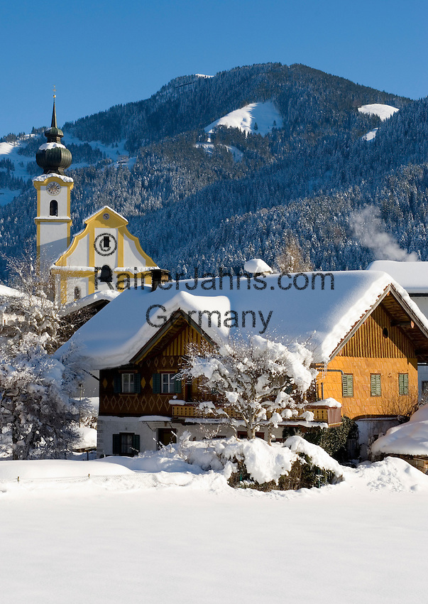 Austria, Tyrol, village Soell with parish church holy Petrus and Paulus