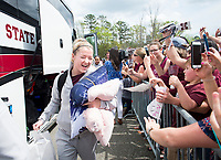 Mississippi State senior women&rsquo;s basketball player Blair Schaefer greets the large crowd that gathered to meet the Bulldogs as they returned Monday [April 2] from the Women&rsquo;s Final Four in Columbus, Ohio. The 2017-18 Bulldogs set numerous school, conference and national records en route to completing a perfect 30-0 regular season and earning a second consecutive trip to the Final Four.<br />