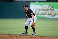 Kannapolis Intimidators second baseman Max Dutto (6) on defense against the Hickory Crawdads in game one of a double-header at Kannapolis Intimidators Stadium on May 19, 2017 in Kannapolis, North Carolina.  The Crawdads defeated the Intimidators 5-4.  (Brian Westerholt/Four Seam Images)