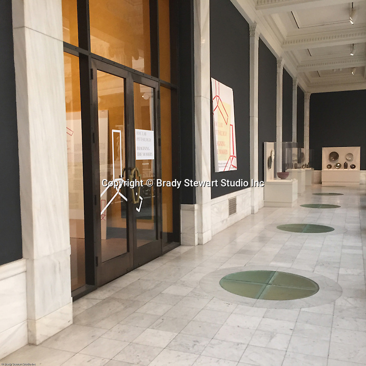 Pittsburgh PA:  View of the entrance to the Heinz Architectural Center inside the Carnegie Museum of Art - 2015.  Photographs from the Brady Stewart Archives were used in the exhibition about Pittsburgh's architectural evolution 1945-1970.<br /> The Exhibition runs from September 1915 thru May 2016.