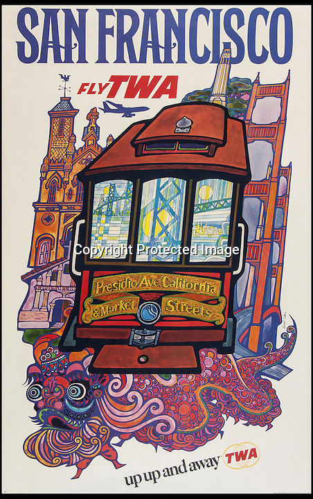 BNPS.co.uk (01202 558833)<br /> Pic: Bloomsbury/BNPS<br /> <br /> ***Please Use Full Byline***<br /> <br /> Fly TWA to San Francisco. <br /> <br /> Scarce vintage travel posters that hark back to the halcyon days of travel across the globe in the 1930s are tipped to sell for £50,000.<br /> <br /> The fine collection of over 100 works of art were used to advertise dream holiday destinations in far-flung places and the luxurious ways of reaching them.<br /> <br /> Most of the advertising posters date back to the 1920s and 1930s and are Art Deco in style.<br /> <br /> They are a celebration of the various modes of transport used by wealthy tourists in the days before air travel and package holidays.<br /> <br /> They are being sold at London auctioneers Bloomsbury next week.