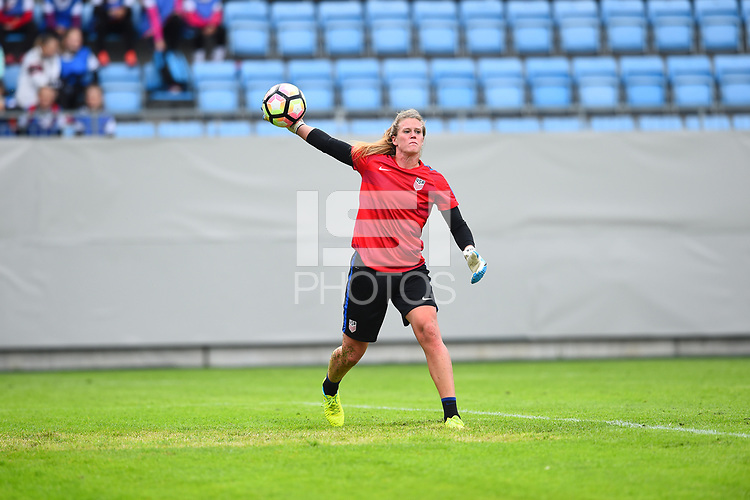 Sandefjord, Norway - June 11, 2017: Alyssa Naeher warms up prior to their game  vs Norway in an international friendly at Komplett Arena.