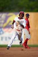 Auburn Doubledays left fielder Daniel Johnson (30) running the bases during a game against the Williamsport Crosscutters on June 26, 2016 at Falcon Park in Auburn, New York.  Auburn defeated Williamsport 3-1.  (Mike Janes/Four Seam Images)