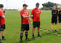20180304 - LARNACA , CYPRUS :  Belgian head coach Ives Serneels pictured  talking to the group with assistant coach Kris Van Der Haegen (r) during a Matchday -1 training from The Belgian Red Flames prior to their game against Austria , on Sunday 4 March 2018 at the Alpha Sports Grounds in Larnaca , Cyprus . This will be the third game in group B for Belgium during the Cyprus Womens Cup , a prestigious women soccer tournament as a preparation on the World Cup 2019 qualification duels. PHOTO SPORTPIX.BE | DAVID CATRY