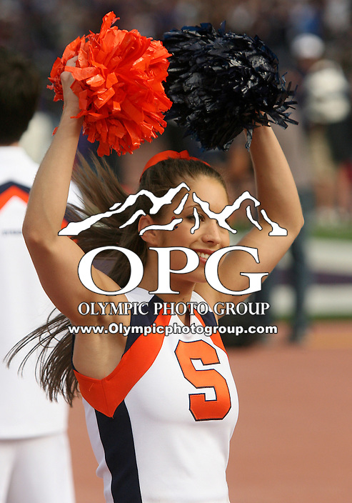 Sept 11, 20010:  Syracuse cheerleaders entertained their fans during the game with cheers.  Washington defeated Syracuse 41-20 at Husky Stadium in Seattle, Washington.