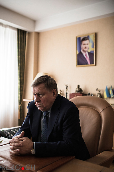 "Donetsk, Ukraine. 6 december 2013. Valentin I. Landik, Deputy of Party of Regions and President of holding ""Group NORD"", photographed in his office."