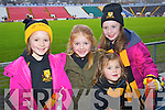 Pictured at Pairc Ui Chaoimh on Sunday for the Crokes v  Castlehaven senior club final game were l-r: Rachel O'Shea, Leah McMahon, Annie Brosnan and Amy O'Shea .