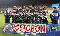 BOGOTA -COLOMBIA. 18-02-2014. Formacion   de Boyaca Chico F.C. contra La Equidad  partido por la sexta  fecha de La liga Postobon 1 disputado en el estadio Metropolitano de Techo . /   Boyaca Chico F.C. team  against  La Equidad   of  Sixth round during the match for the fifth round of The Postobon one league match at the Metropolitano of Techo Stadium . Photo: VizzorImage/ Felipe Caicedo / Staff