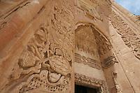 Ishak Pasha Saray Palace Dogubayazit Turchia,paesaggio   . Anatolia Orientale, particolare architettonico.Portale istoriato.