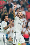 Karim Benzema of Real Madrid celebrates with teammates for scoring his second goal during the La Liga 2018-19 match between Real Madrid and CD Leganes at Estadio Santiago Bernabeu on September 01 2018 in Madrid, Spain. Photo by Diego Souto / Power Sport Images
