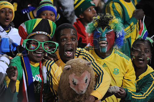 South African fans celebrate on the stand prior to the 2010 FIFA World Cup group A match between South Africa and Uruguay at Loftus Versfeld Stadium in Pretoria, South Africa 16 June 2010.