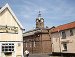 Historic town hall building and Queens Head pub, Eye, Suffolk, England, UK