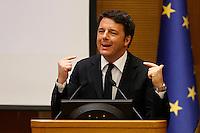 Il Presidente del Consiglio Matteo Renzi tiene la conferenza stampa di fine anno a Roma, 29 dicembre 2015.<br /> Italian Premier Matteo Renzi attends the year-end press conference in Rome, 29 December 2015.<br /> UPDATE IMAGES PRESS/Riccardo De Luca