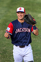 Jackson Generals catcher Daulton Varsho (5) warms up in the outfield prior to a Southern League game against the Biloxi Shuckers on June 14, 2019 at The Ballpark at Jackson in Jackson, Tennessee. Jackson defeated Biloxi 4-3. (Brad Krause/Four Seam Images)