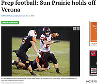 Sun Prairie's Nathan Schauer is tacked by Dylan Bourne (middle) in the first quarter, as Sun Prairie takes on Verona in Big Eight Conference high school football at Verona High School on Friday, 9/14/18, in Verona, Wisconsin | Wisconsin State Journal article front page Sports 9/15/18 and online at https://madison.com/wsj/sports/high-school/football/prep-football-sun-prairie-holds-off-verona/article_abc8a1ae-d3f4-530d-8e42-72d8dddb29fd.html