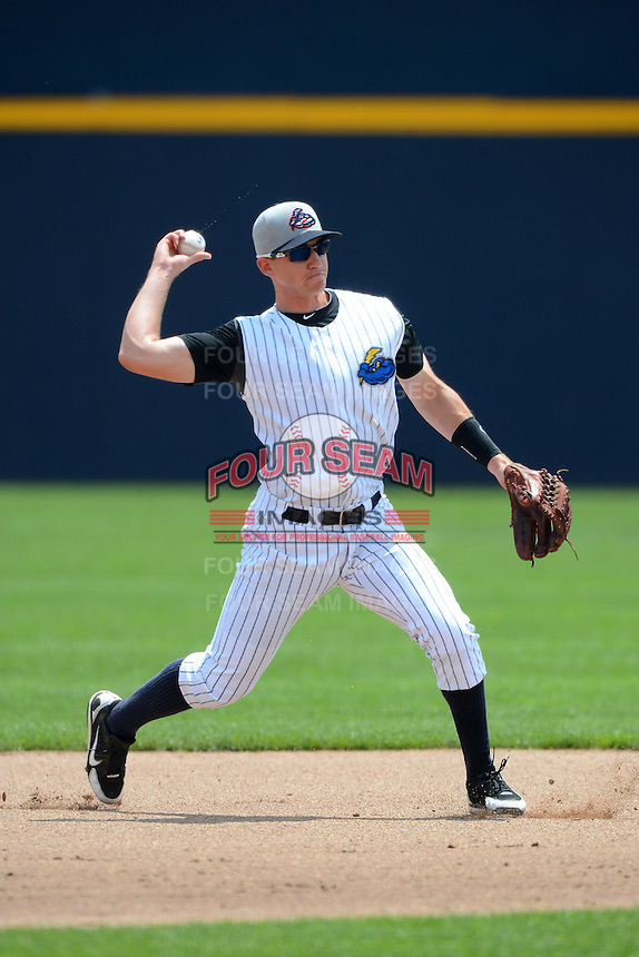 Trenton Thunder shortstop Carmen Angelini #10 during a game against the Reading Fightin Phils on July 8, 2013 at Arm & Hammer Park in Trenton, New Jersey.  Trenton defeated Reading 10-6.  (Mike Janes/Four Seam Images)